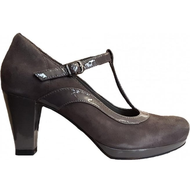 Clarks Womens Chorus Pitch Dark Grey Leather/Suede Combi T-Bar Shoes