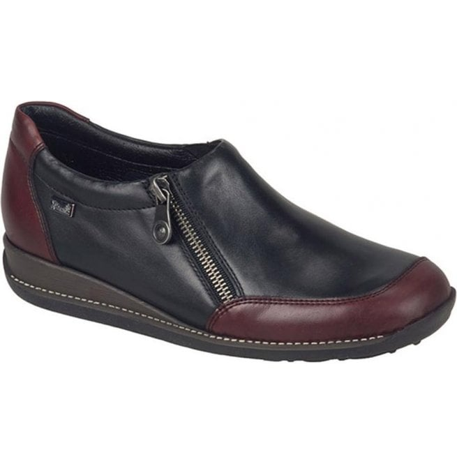 Rieker - Womens Bogota Black/Burgundy Casual Waterproof Shoes 44294-35