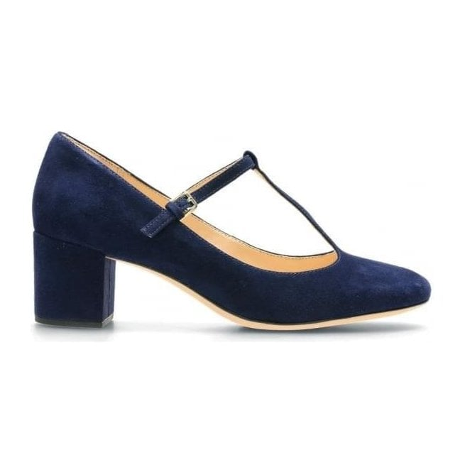 Clarks Womens Orabella Fern Navy Suede T-Bar Shoes