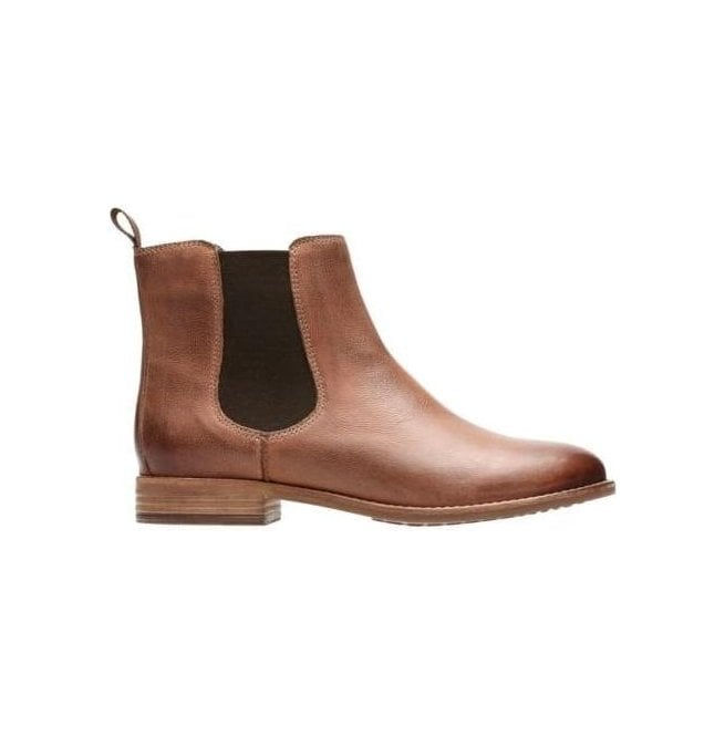 Clarks Womens Maypearl Nala Dark Tan Leather Ankle Boots