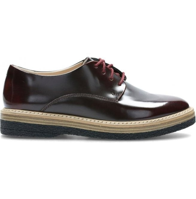 Clarks Womens Zante Zara Burgundy Leather Lace Up Shoes