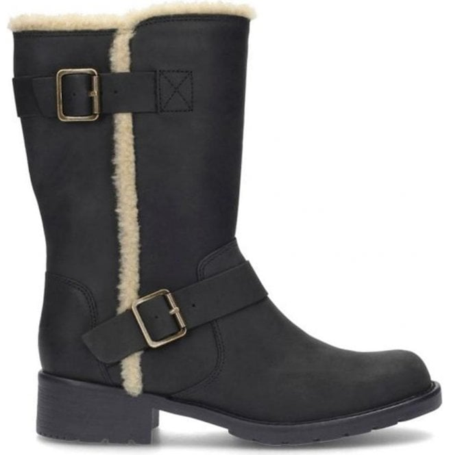 Clarks Womens Orinoco Art Black Leather Mid Calf Boots