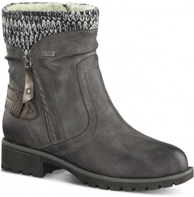 Jana Womens Graphite Knitted Collar Waterproof Ankle Boots 8-8-26420-29 206