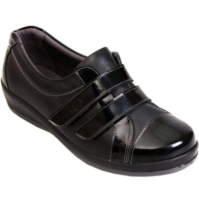 Sandpiper Womens Fargo Black/Patent Extra Wide Shoes
