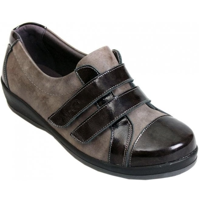 Sandpiper Womens Fargo Grey/Patent Extra Wide Shoes