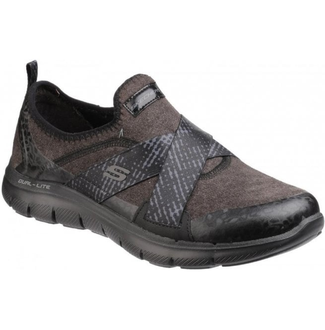 Skechers Womens Black Flex Appeal 2.0 - Bright Eyed Shoes SK12619