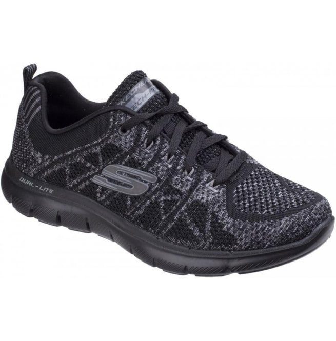 Skechers Womens Black/Charcoal Flex Appeal 2.0 - New Gem Shoes SK12623