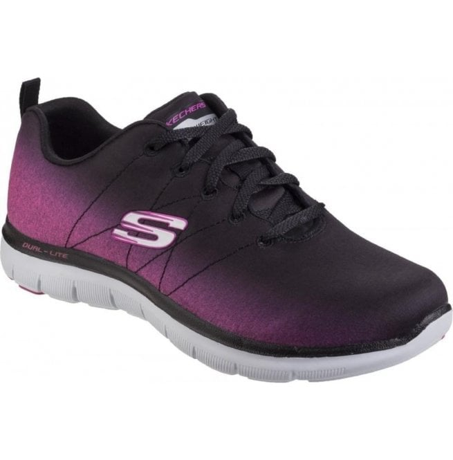 Skechers Womens Black/Hot Pink Flex Appeal 2.0 - Bright Side Shoes SK12763