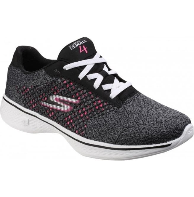 Skechers Womens Black/Hot Pink Go Walk 4 - Exceed Trainers SK14146