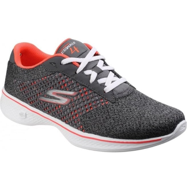 Skechers Womens Charcoal/Coral Go Walk 4 - Exceed Trainers SK14146