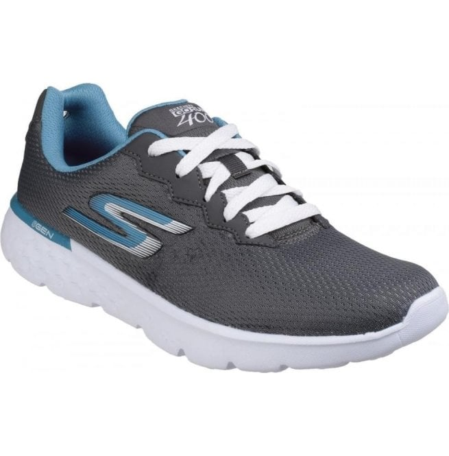 Skechers Womens Charcoal Blue Go Run 400 - Action Lace Up Sports Shoes