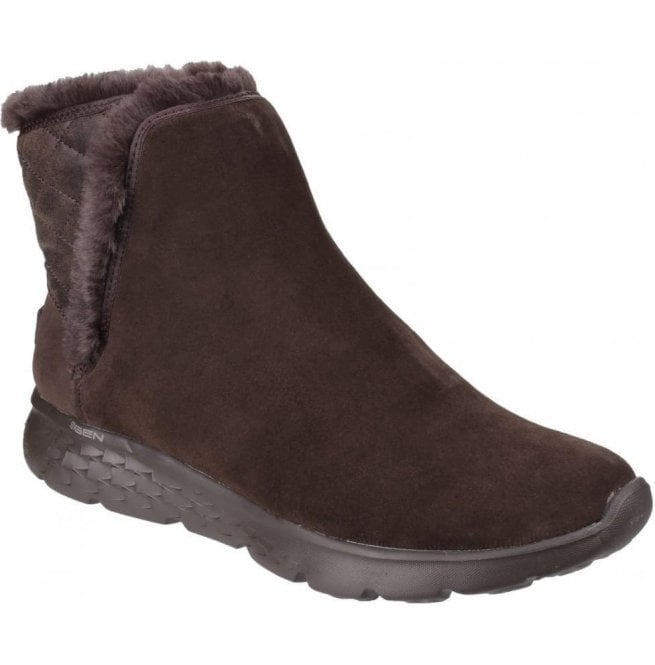 Skechers Womens Chocolate On The Go 400 - Cozies Pull on Ankle Boots SK14356