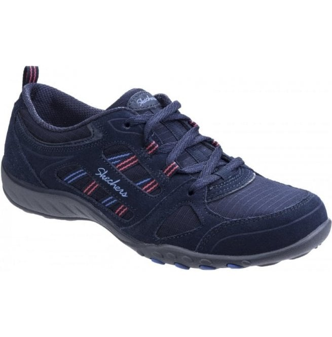 Skechers Womens Navy Active Breathe Easy - Good Luck Lace Up Trainers SK22544