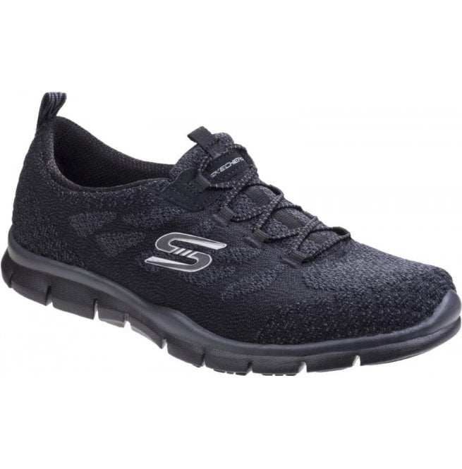 Skechers Womens Black Gratis - Sleek And Chic Lace Up Trainers SK22758
