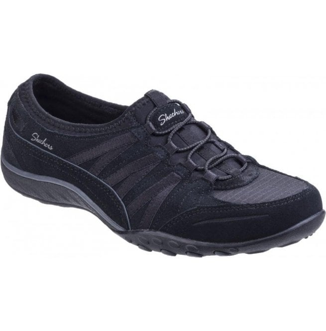 Skechers Womens Black Relaxed Fit: Breathe Easy - Moneybags Lace Up Trainers SK23020