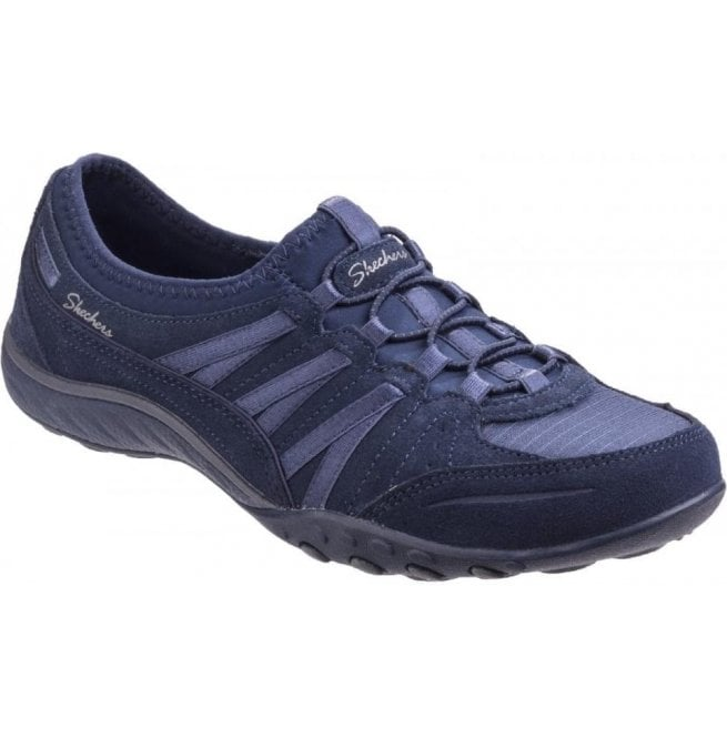 Skechers Womens Navy Relaxed Fit: Breathe Easy - Moneybags Lace Up Trainers SK23020