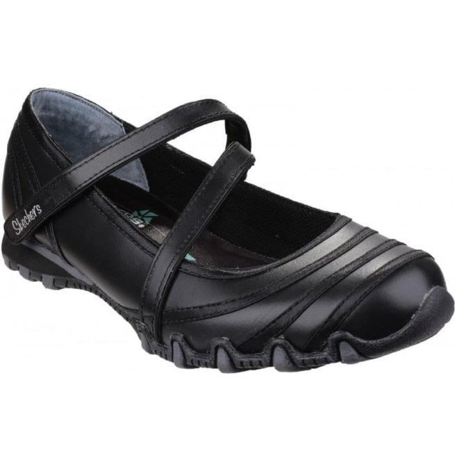 Skechers Womens Black Bikers Satin Shine Mary Jane Shoes