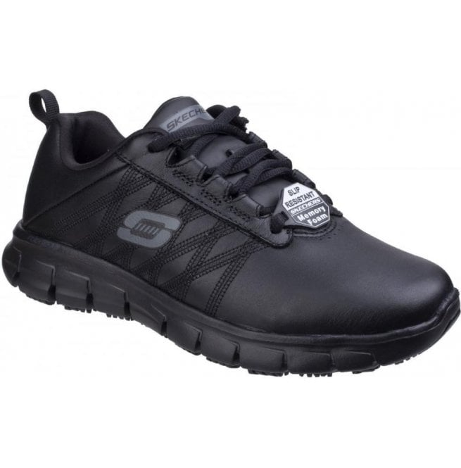 Skechers Womens Black Sure Track - Erath SR Lace up Shoes SK76576EC