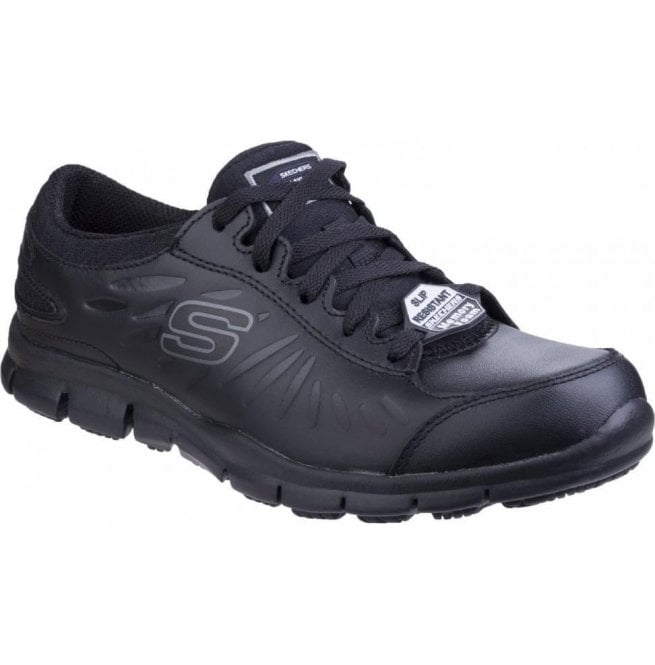 Skechers Womens Black Eldred Slip Resistant Lace up Work Shoes