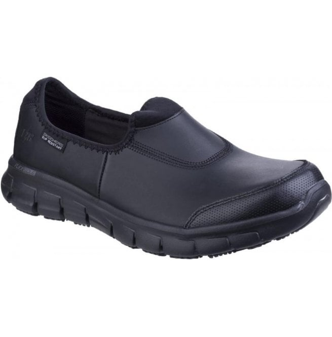 Skechers Womens Black Sure Track Slip Resistant Slip On Work Shoes