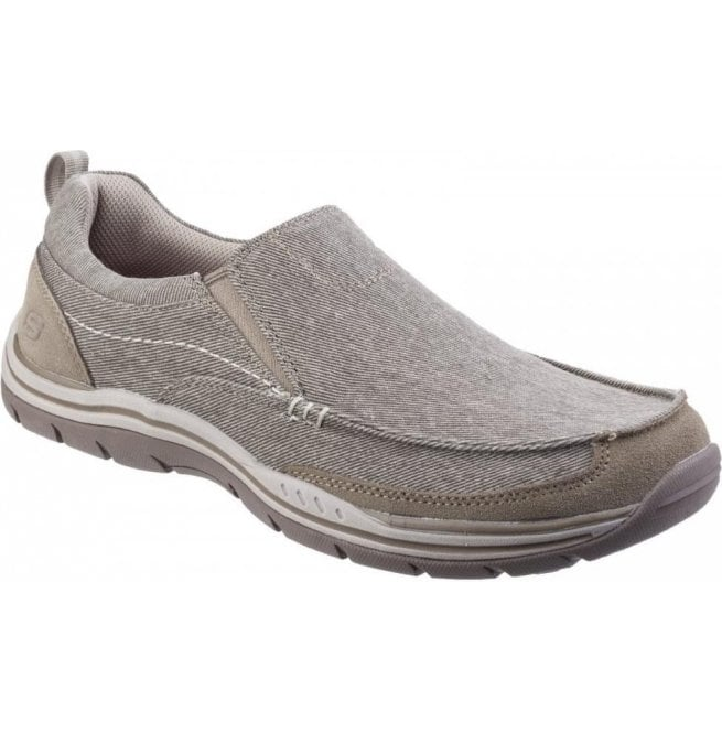 Skechers Mens Khaki Expected - Tomen Slip-On Shoes SK64928