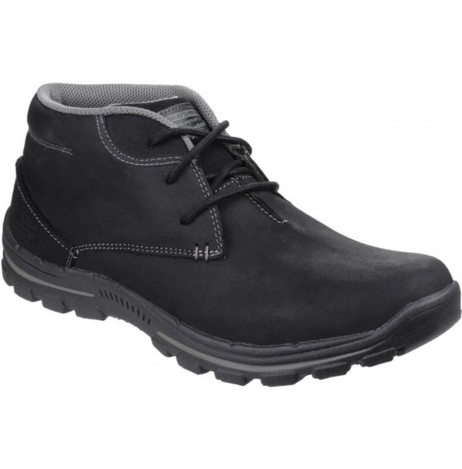 Skechers Mens Black Braver Horatio Lace-Up Boots SK64864