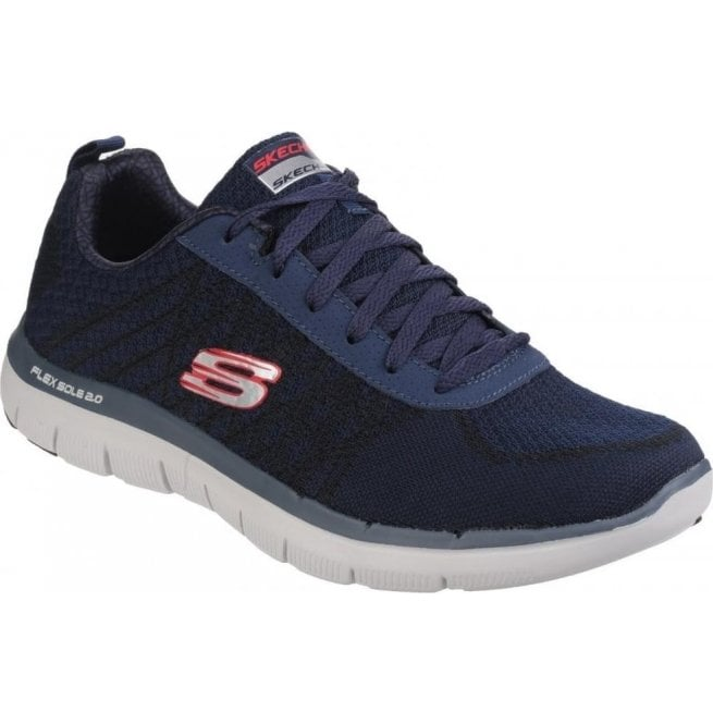 Skechers Mens Navy/Red Flex Advantage - 2.0 Golden Point Lace Up Trainers SK52182