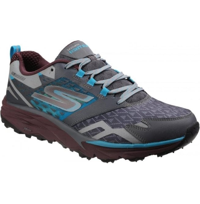 Skechers Mens Charcoal/Teal Go Trail Lace Up Trainers SK54112