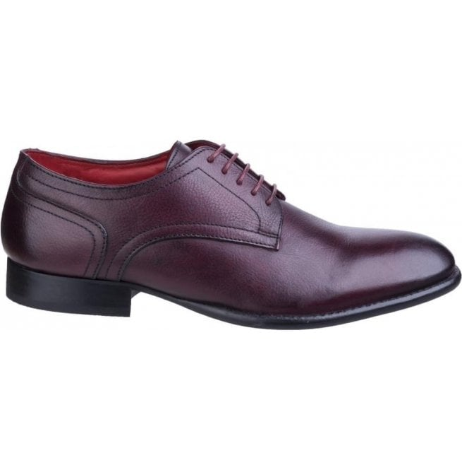 Base London Mens Ford Grain Burgundy Leather Derby Shoes