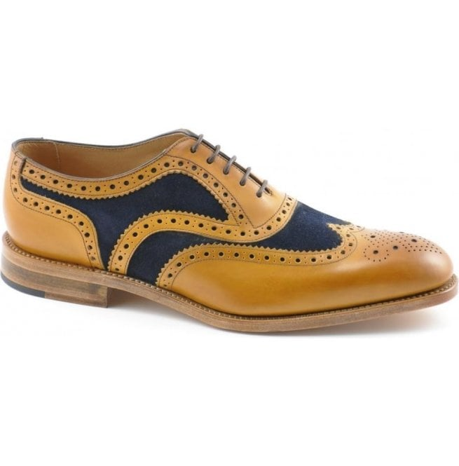 Loake Mens Tarantula Tan Calf Leather/Navy Suede Oxford Brogue Shoes