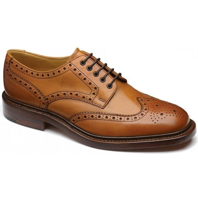 Loake Mens Chester Tan Full Brogue Lace Up Shoes