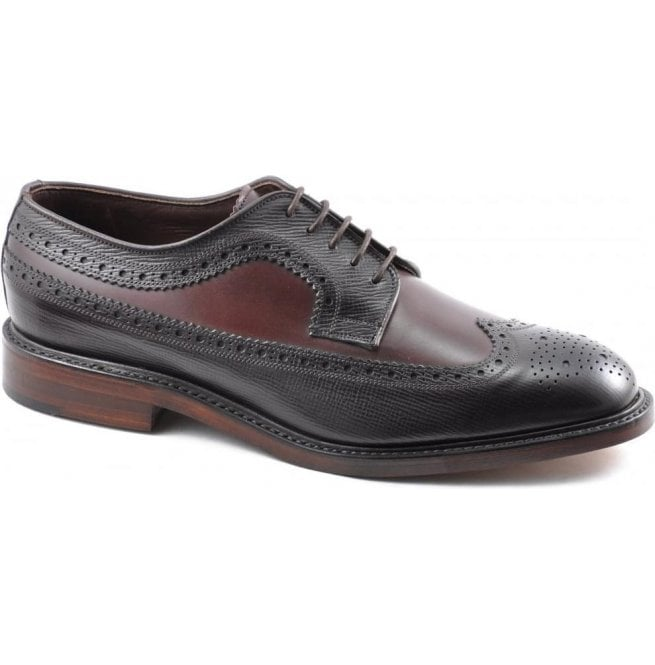 Loake Mens Taunton Burgundy Grain Two-Tone Brogue Shoes