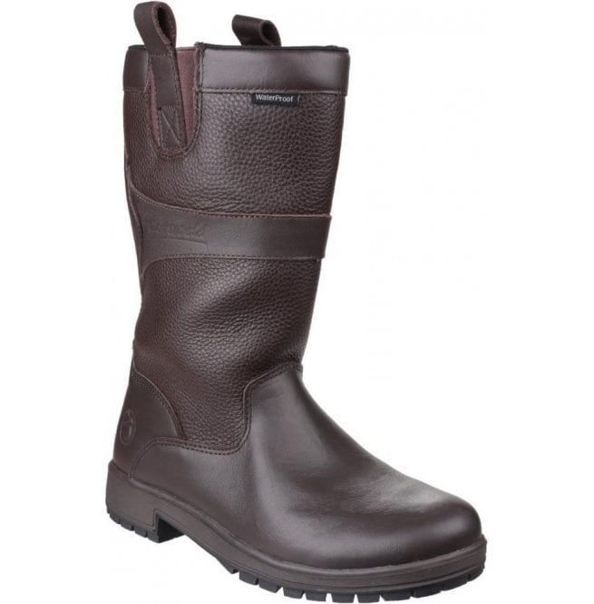 Cotswold Womens Ascot Brown Waterproof Pull on Wellington Boots