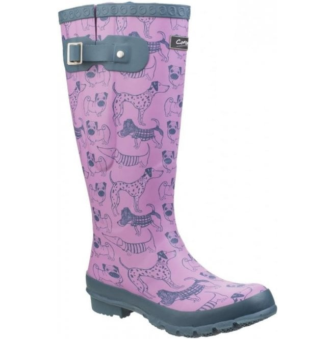 Cotswold Womens Windsor Dog Print Wellington Boots