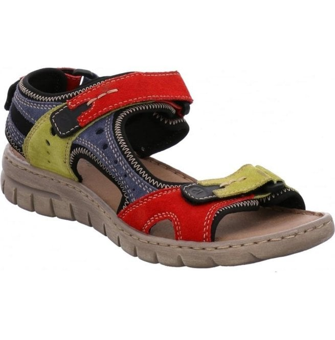 Josef Seibel Womens Stefanie 23 Red-Multi Velcro Sandals 93423 949 402