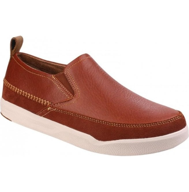 Hush Puppies Mens Lazy Genius Brown Casual Slip-On Shoes