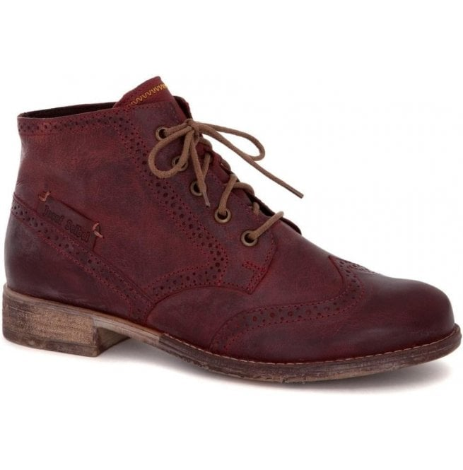Josef Seibel Womens Sienna 15 Wine Lace Up Ankle Boots 99615 MI720 647