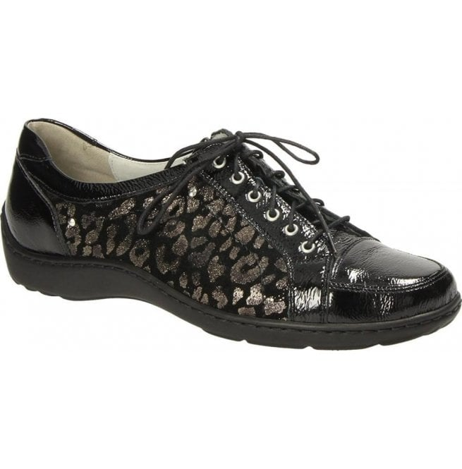Waldlaufer Womens Henni Black/Silver Animal Print Lace Up Shoes 496005 600 492