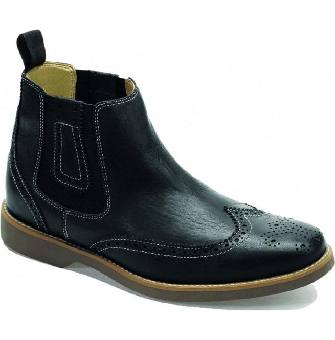 Anatomic Gel Mens Gustavo Black Floater Brogue Chelsea Boots