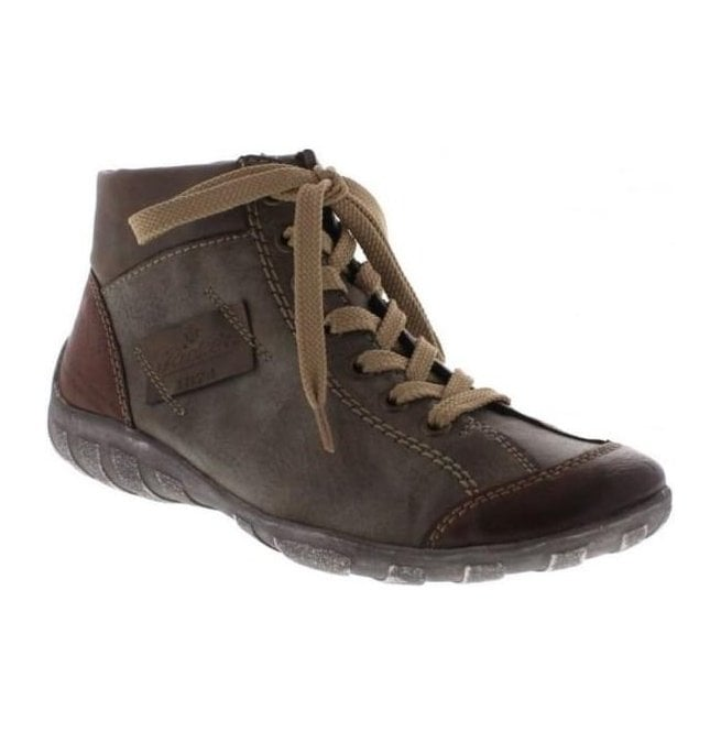 Rieker - Womens Jura Brown-Combi Lace Up Ankle Boots L6540-24