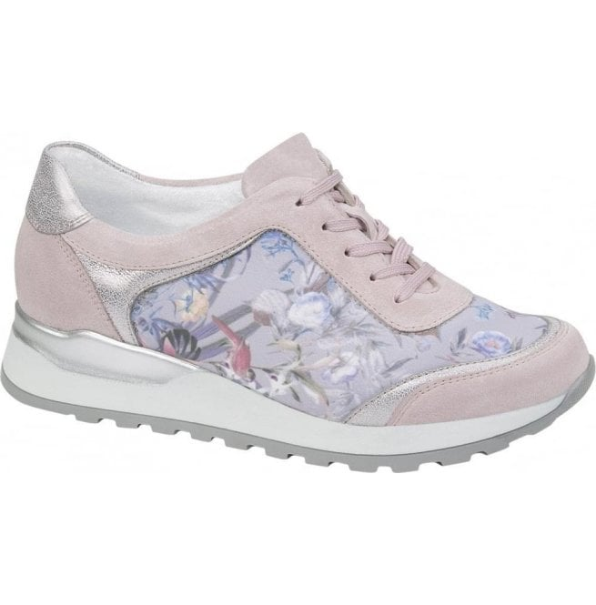 Waldlaufer Womens Hiroko Soft Rose/Grey Lace Up Trainers H64006 300 264