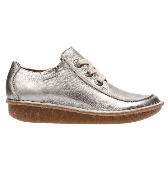 Clarks Womens Funny Dream Pewter Metallic Leather Casual Shoes 26132332