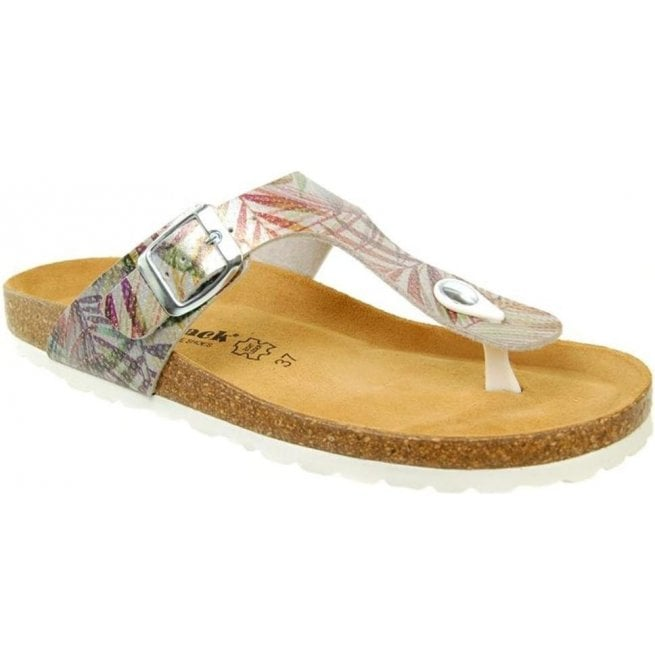 Country Jack Womens Abia Silver Multi Toe-Post Mule Sandals 0027