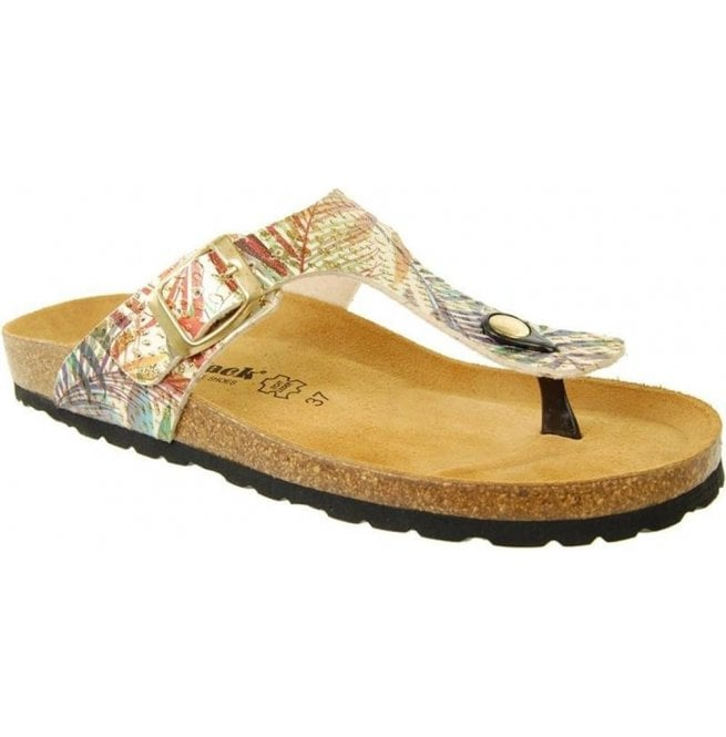 Country Jack Womens Abia Gold Multi Toe-Post Mule Sandals 0027
