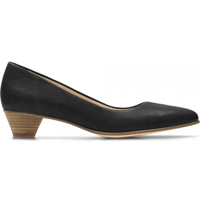 Clarks Womens Mena Bloom Black Leather Court Shoes 26132402