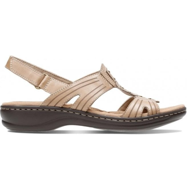 Clarks Womens Leisa Vine Sand Leather Mule Sandals 26134115