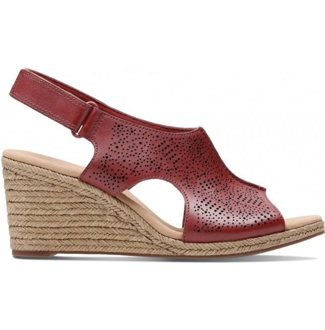Clarks Womens Lafley Rosen Red Leather Wedge Sandals 26133774