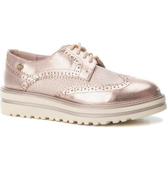 XTI Womens 47799 Nude Lace-Up Oxford Shoes