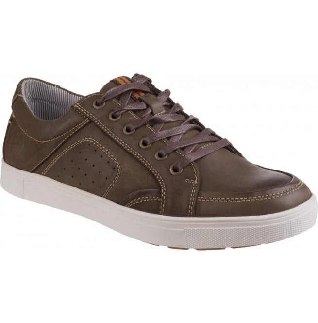 Cotswold Mens Cheltenham Brown Leather Lace-Up Trainers