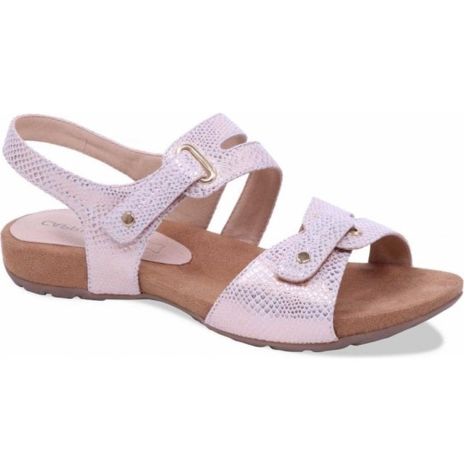 Caprice Womens Carina Rose Gold Reptile Velcro Sandals 9-9-28107-20 569